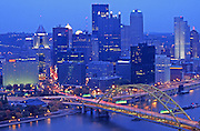 Pittsburgh, PA, Skyline, Three Rivers, Golden Triangle, Evening Lights