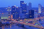 Pittsburgh, PA, Skyline, Three Rivers, Golden Triangle, Evening Lights
