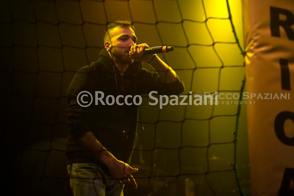 """The young Italian singer rapper Bad Skillzfinalist contestant of the """"Hurricane Tournament"""" competition, organized by the Roman rapper Mezzosangue in concert at the Atlantic in Rome. Rome (Italy),January 25th ,2020"""