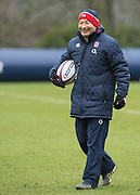 Bagshot, Surrey. UK.<br /> Smiling Eddie JONES enjoys on of the plays during the RFU. England Rugby Team, Training session at the Pennyhill Park training complex. <br /> <br /> [Mandatory Credit: Peter SPURRIER;Intersport images]