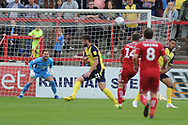 Accrington Stanley Midfielder, Sam Finley (14) shoots  during the EFL Sky Bet League 1 match between Accrington Stanley and Scunthorpe United at the Fraser Eagle Stadium, Accrington, England on 1 September 2018.