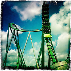 The Incredible Hulk Coaster at Universal Orlando Resort. Orlando holiday 2012. Photo taken with the Hipstamatic photo application on Apple iPhone 4.