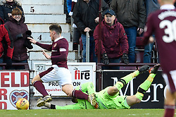 Hearts David Milinkovic is brought down in the box by Celtic goalkeeper Craig Gordon, resulting in a penalty, during the Ladbrokes Scottish Premiership match at Tynecastle Stadium, Edinburgh.