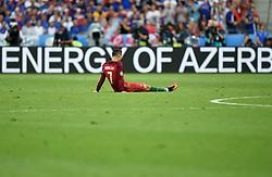 Cristiano Ronaldo of Portugal sits injured  - Mandatory by-line: Joe Meredith/JMP - 10/07/2016 - FOOTBALL - Stade de France - Saint-Denis, France - Portugal v France - UEFA European Championship Final