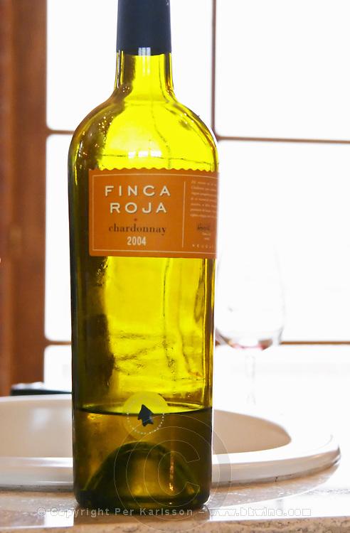 bottle of Finca Roja Chardonnay Bodega Del Anelo Winery, also called Finca Roja, Anelo Region, Neuquen, Patagonia, Argentina, South America