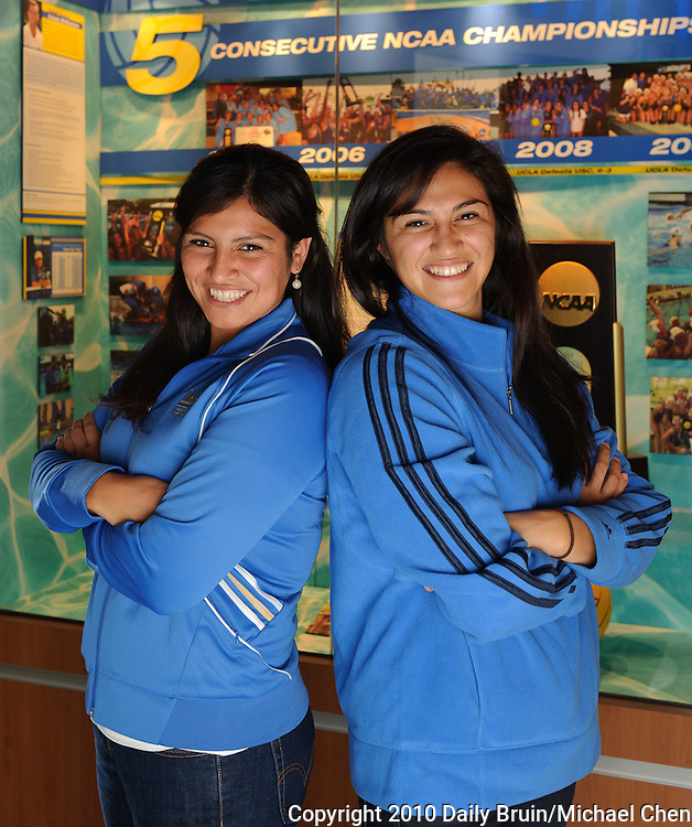 Sisters Sarah and Priscilla Orozco members of the womens water polo team played water polo together while growing up in Commerce. Sarah a sophomore center and Priscilla a junior attacker are starters for the defending NCAA champions.