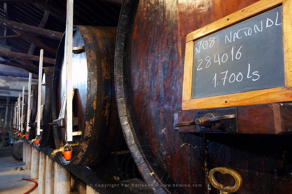 vats with touriga signs on tank quinta do noval douro portugal