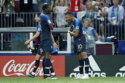(L-R) Paul Pogba of France, Kylian Mbappe of France during the 2018 FIFA World Cup Russia Final match between France and Croatia at the Luzhniki Stadium on July 15, 2018 in Moscow, Russia
