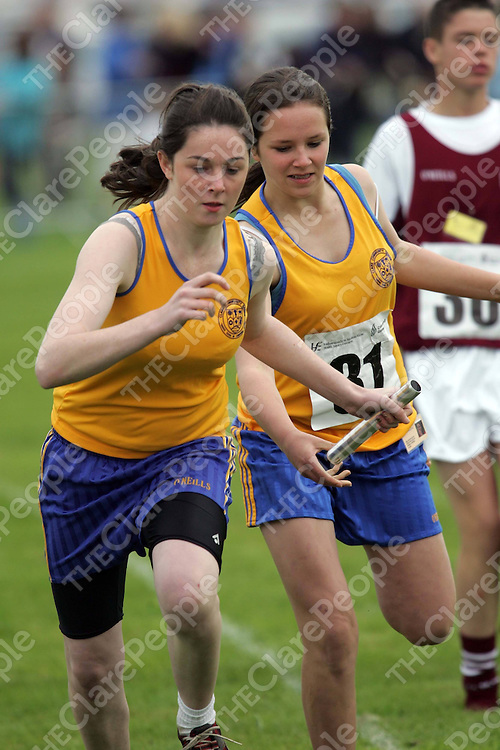 Paula Loughnan and Orla Duggan from Clooney Quin in the relay at the National Finals of Community Games held in Mosney Co. Meath