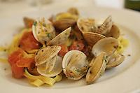Fettuccine a la vongole, (with clams), in Gaeta..April 2006.photo by Owen Franken.........