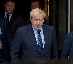Prime Minister and party leader Boris Johnson leaves his hotel on the first day of the Conservative Party conference in Manchester<br /> <br /> © Dave Johnston / EEm