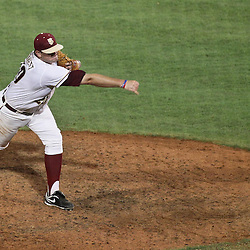 June 03, 2011; Tallahassee, FL, USA; Florida State Seminoles pitcher Daniel Bennett during the ninth inning of the Tallahassee regional of the 2011 NCAA baseball tournament against the Bethune-Cookman Wildcats at Dick Howser Stadium. Florida State defeated Bethune-Cookman 6-5. Mandatory Credit: Derick E. Hingle