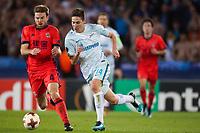 SAN SEBASTIAN, SPAIN - DECEMBER 07, 2017. 2017-18 UEFA Europa League Group L Round 6 football match: Real Sociedad (San Sebastian) - Zenit (St Petersburg) 1 - 3. Real Sociedad's Asier Illarramendi Andonegi (L) and Zenit St Petersburg's Daler Kuzyaev (R).
