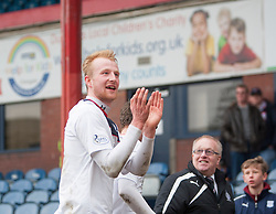 Scorer Falkirk's Mark Beck at the end.<br /> Dundee 0 v 1 Falkirk, Scottish Championship game played today at Dundee's Dens Park.<br /> © Michael Schofield.