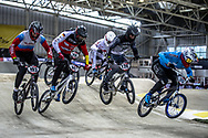 #193 (RAIUSHKIN Mikhail) RUS, #147 (BALLBACH Jonas) GER, #120 (PELLUARD Vincent) COL, #741 (ARBOLEDA OSPINA Diego Alejandro) COL at Round 2 of the 2019 UCI BMX Supercross World Cup in Manchester, Great Britain