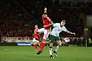Joe Ledley of Wales (l) and James McClean of Republic of Ireland in action. Wales v Rep of Ireland , FIFA World Cup qualifier , European group D match at the Cardiff city Stadium in Cardiff , South Wales on Monday 9th October 2017. pic by Andrew Orchard, Andrew Orchard sports photography
