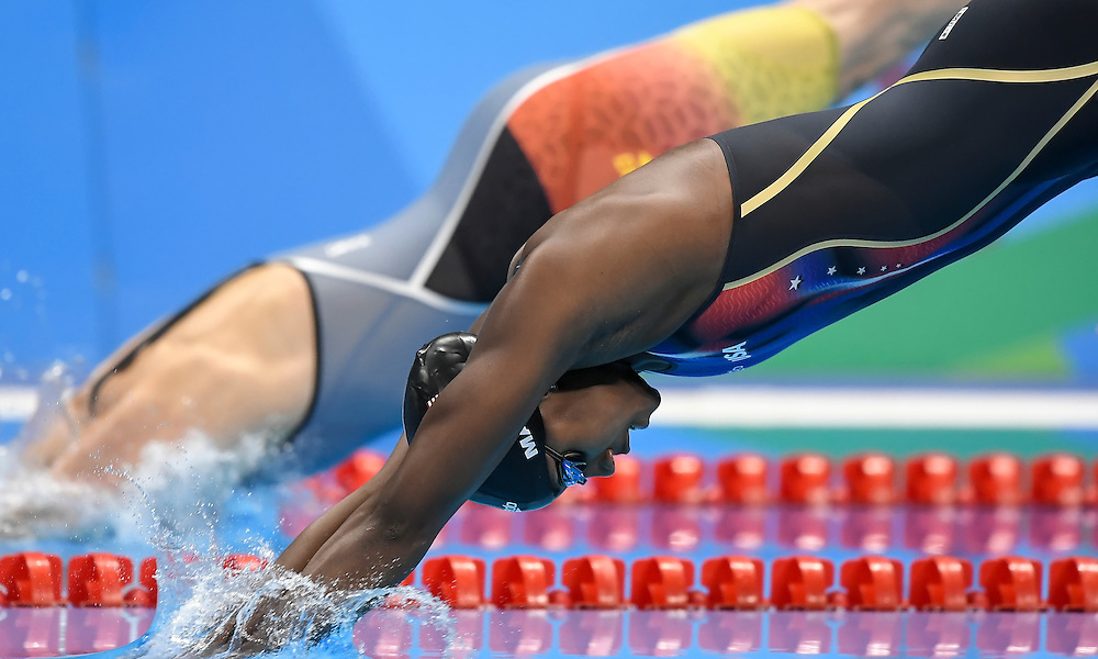United States swimmer Simone Manuel lept off the starting blocks to qualify for the women's 50m freestyle final on Friday at the Olympic Aquatic Stadium during the 2016 Summer Olympics Games in Rio de Janeiro, Brazil.