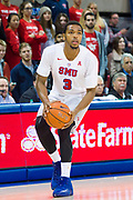 DALLAS, TX - JANUARY 04:  Sterling Brown #3 of the SMU Mustangs brings the ball up court against the Temple Owls during a basketball game on January 4, 2017 at Moody Coliseum in Dallas, Texas.  (Photo by Cooper Neill/Getty Images) *** Local Caption *** Sterling Brown