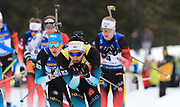 Martin Fourcade (FRA) leads the pack in the  Men 15 Km during the IBU Biathlon World Championships, Sunday, Feb. 23, 2020, in Antholtz-Anterselva, Italy. (Pierre Teyessot-ESPA-Images/Image of Sport)
