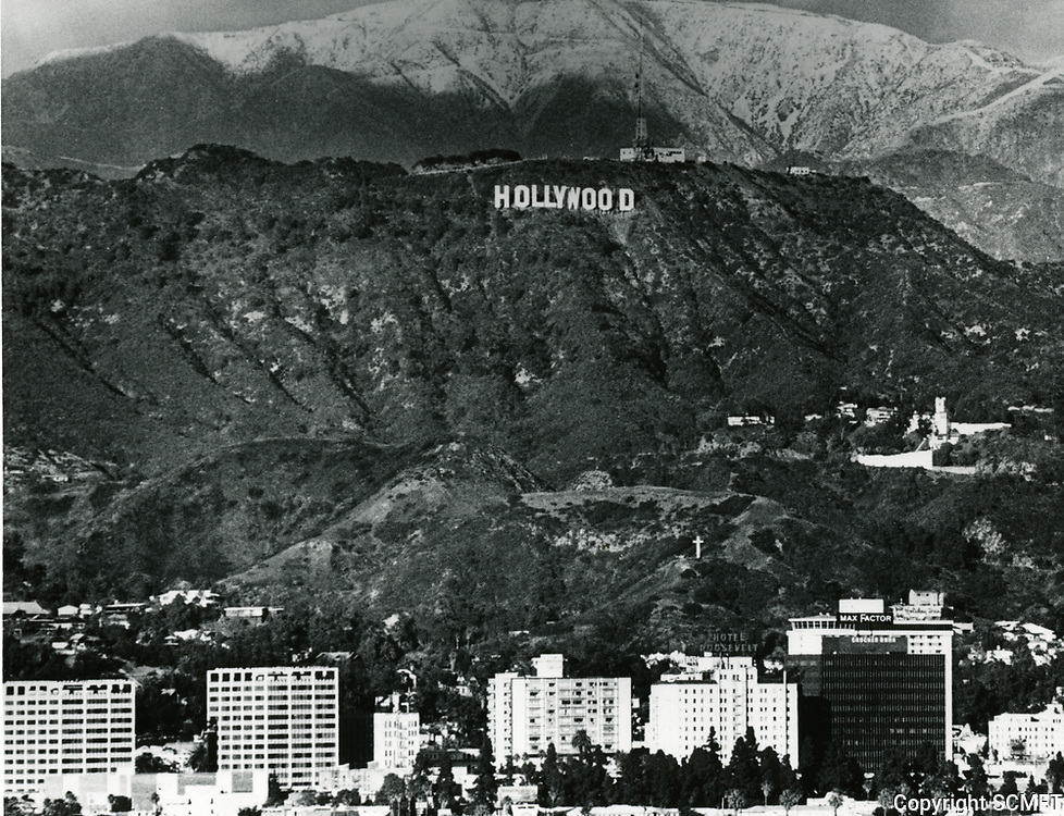 1980 The new Hollywood sign with snow on the mountains
