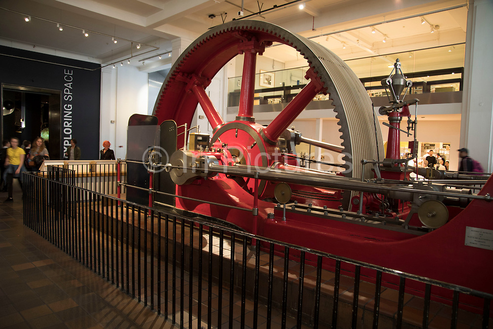 Mill engine by the Burnley Ironworks Company from 1903 at the Science Museum in London, England, United Kingdom. The Science Museum was founded in 1857 with objects shown at the Great Exhibition of 1851. Today the Museum is world renowned for its historic collections, awe-inspiring galleries and inspirational exhibitions.