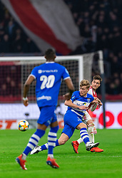 13-03-2019 NED: Ajax - PEC Zwolle, Amsterdam<br /> Ajax has booked an oppressive victory over PEC Zwolle without entertaining the public 2-1 / Zian Flemming #14 of PEC Zwolle, Nicolas Tagliafico #31 of Ajax