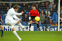 Photograph: Scott Heavey.<br />Crystal Palace v Nottingham Forest. Nationeide Division One. 13/12/2003.<br />Thomas Myre watches a free kick approach his goal