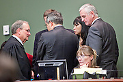 22 FEBRUARY 2010 -- CAMP VERDE, AZ: Judge Warren Darrow (left) leads a conference among lawyers during the bond hearing for James Arthur Ray in Camp Verde Tuesday. PHOTO BY JACK KURTZ