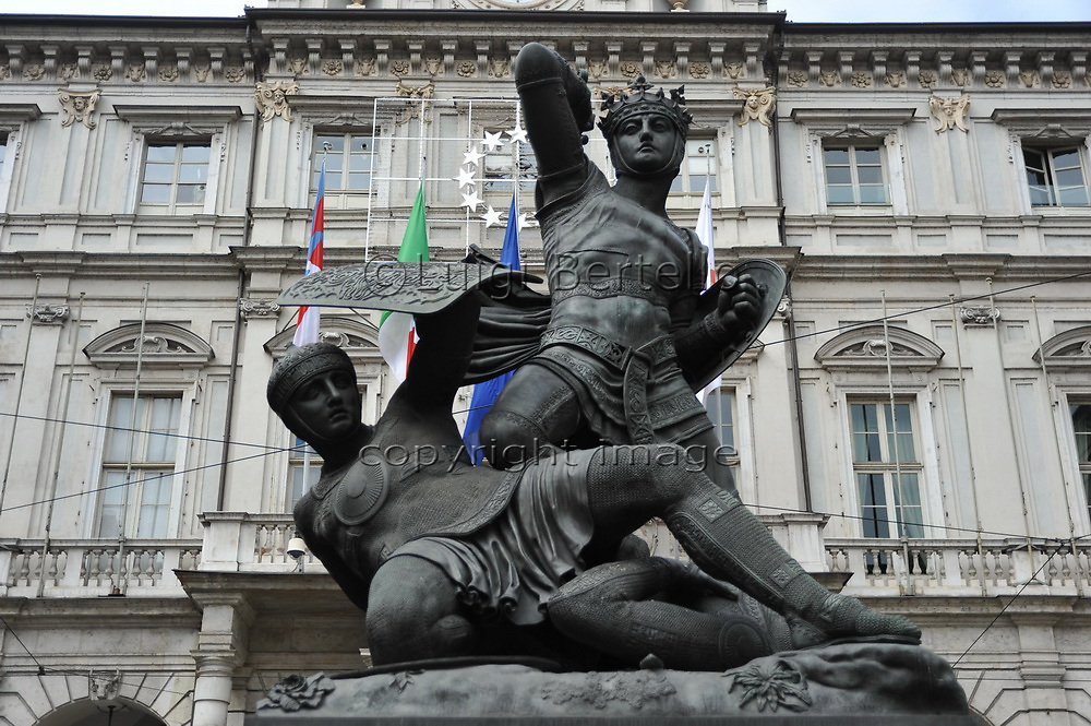Turin, Piedmont, Italy. Statue of Amadeus VI of Savoy also named Conte Verde