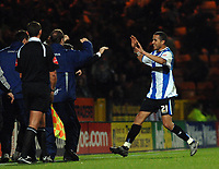 Photo: Ashley Pickering.<br />Norwich City v Sheffield Wednesday. Coca Cola Championship. 09/12/2006.<br />Madjid Bougherra celebrates the opener for Sheffield with his bench