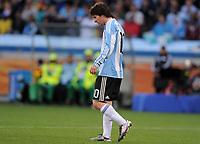Fotball<br /> VM 2010<br /> Tyskland v Argentina<br /> 03.07.2010<br /> Foto: Witters/Digitalsport<br /> NORWAY ONLY<br /> <br /> Lionel Messi (Argentinien)<br /> Fussball WM 2010 in Suedafrika, Viertelfinale, Argentinien - Deutschland