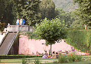 Shalimar Bagh, a Mughal Garden. Mughal gardens were built by the Mughals in the Islamic style of architecture. Srinigar, Kashmir, India