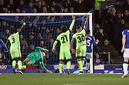 Ramiro Funes Mori (r) of Everton shoot and scores his teams first goal as all the Manchester city players appeal for an offside. Capital one cup semi final 1st leg match, Everton v Manchester city at Goodison Park in Liverpool on Wednesday 6th January 2016.<br /> pic by Chris Stading, Andrew Orchard sports photography.