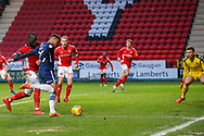 Southend United midfielder Michael Klass (20) has a shot off target during the EFL Sky Bet League 1 match between Charlton Athletic and Southend United at The Valley, London, England on 9 February 2019.