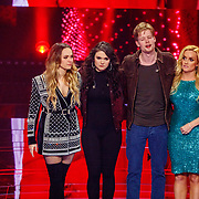 NLD/Hilversum/20180216 - Finale The voice of Holland 2018, Demi van Wijngaarden, Nienke, winnaar Jim van der Zee en Samantha Steenwijk