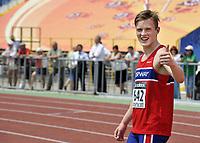 Friidrett<br /> VM U18<br /> Donetsk Ukraina<br /> 11.07.2013<br /> Foto: Panoramic/Digitalsport<br /> NORWAY ONLY<br /> <br /> Karsten Warholm - Norge<br /> Mangekamp
