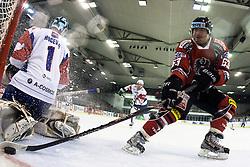 Markus Schlacher of Austria vs Andrej Hocevar of Slovenia during ice-hockey match between Slovenia and Austria in Slovenia Euro ice hockey challenge, on November 10, 2012 at Hala Tivoli, Ljubljana, Slovenia. (Photo By Matic Klansek Velej / Sportida)