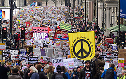 © Licensed to London News Pictures. 04/02/2017. London, UK. Thousand of protestors take part in a demonstration against U.S President Donald Trump's Executive Order banning refugees and immigrants from a number of Muslim-majority countries. Protestors join campaign groups including Stop the War, Stand up to Racism, Muslim Association of Britain, in a march from the U.S Embassy in London to Downing Street. Photo credit: Ben Cawthra/LNP