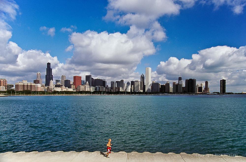 View of city skyline and Lake Michigan, Chicago, Illinois