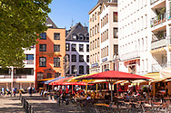 Germany, Cologne, pavement cafes and the pub Brauerei zum Pfaffen Max Paeffgen at the Heumarket in the historic part of the town.<br /> <br /> Deutschland, Koeln, Strassencafes und die Gaststaette Brauerei zum Pfaffen Max Paeffgen am Heumarkt in der Altstadt.