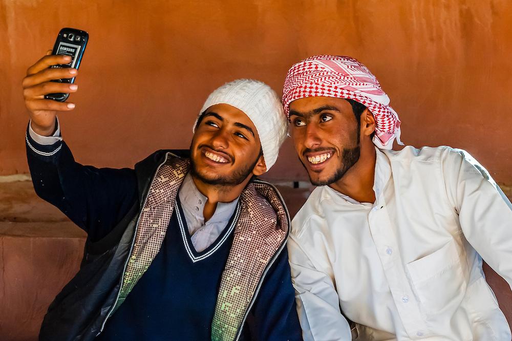 A Bedouin selfie. In a Bedouin tent in the Arabian Desert, Wadi Rum, Jordan.