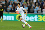 Ki Sung-Yueng of Swansea city in action.Premier league match, Swansea city v Manchester city at the Liberty Stadium in Swansea, South Wales on Saturday 24th September 2016.<br /> pic by Andrew Orchard, Andrew Orchard sports photography.