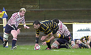 Esher, Surrey. ENGLAND.<br /> <br /> Photo Peter Spurrier<br /> 04/05/2002<br /> Sport - Rugby Union<br /> Tetley's County Championship 1 st Rd<br /> Surrey vs Cornwall<br /> Joe Bearman, touch's down for his second half try.