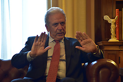 July 27, 2017 - Athens, Attiki, Greece - European Commisioner of Migration, Home Affairs and Citizenship Dimitris Avramopoulos during his meeting with President of Hellenic Republic Prokopis Pavlopoulos. (Credit Image: © Dimitrios Karvountzis/Pacific Press via ZUMA Wire)