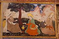 Iran. Isfahan Chehel-Sotun Palace, and museum. also  Chehel Sotoon. Wall paintings, that dates back to the Safavid era