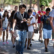 People make their way on the campus of USC.