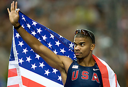 Terrence Trammell  of United States celebrates after the men's 110 Metres Hurdles Final during day six of the 12th IAAF World Athletics Championships at the Olympic Stadium on August 20, 2009 in Berlin, Germany. (Photo by Vid Ponikvar / Sportida)