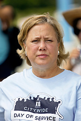 29 August 2015. Lower 9th Ward, New Orleans, Louisiana.<br /> Hurricane Katrina 10th anniversary memorials.  <br /> Former senator Mary Landrieu attends the memorial service for both victims and survivors of the storm. <br /> Photo credit©; Charlie Varley/varleypix.com.