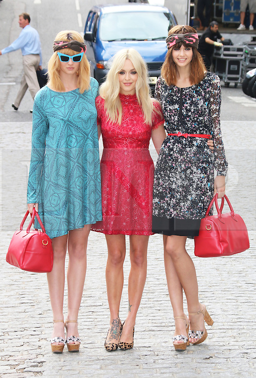 Fearne Cotton and two models wearing her collection for Very, Fearne Cotton launches her SS14 fashion collection for Very.co.uk, Claridges, London UK, 12 September 2013, Photo by Richard Goldschmidt © London News Pictures.