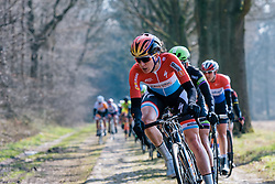 Christine Majerus leads the peloton on Dalakersweg - Ronde van Drenthe 2016, a 138km road race starting and finishing in Hoogeveen, on March 12, 2016 in Drenthe, Netherlands.
